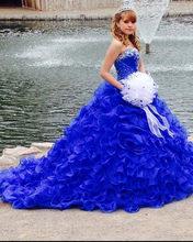 Vestidos de 15 anos 2020 novo azul real quinceanera vestidos querida prateado frisado longo trem bola vestido para festa quinceanera