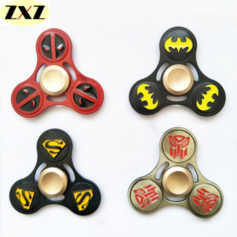 A Latest style Superhero EDC Tri spinner Fidget Zinc alloy Hand Spinner Alloy Fidget Toy Anxiety