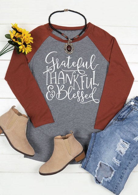 Grateful Thankful Blessed women t-shirts top mama autumn long sleeve shirt women shirts women 2018 plus size gothic