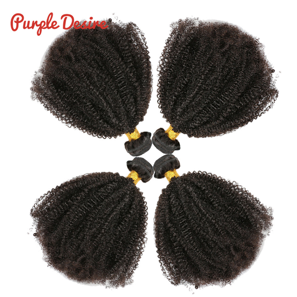 Mongolian Afro Kinky Curly Hair Weave 3 4 Bundles 100 Natural Black Remy Human Hair Bundles