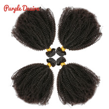Mongolian Afro Kinky Curly Hair Weave 3/4 Bundles 100% Natural Black Remy Human Hair Bundles Extension No Tangle Double Weft