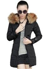 2017 Fashion Womens Down Jacket Long Coat Hooded Winter Fur Collar Warm Outerwear Khaki Red White Black S-3XL