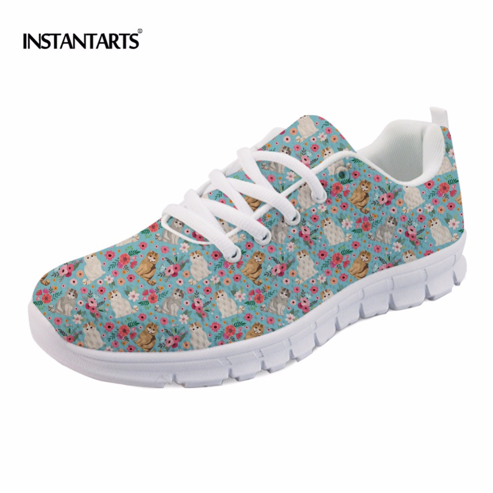 INSTANTARTS Spring Women Casual Mesh Flat Shoes Flower Dog Design Breathable Sneaker Shoes Female Light Flats Walk Shoes Ladies instantarts fashion girls spring autumn flats shoes cute havanese flower pattern female mesh flats shoes casual light sneakers