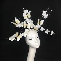 Branches Flower Headwear White Black Bride Photo Movie Props School Stage Performance Headdress Model MakeUp Accessories