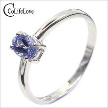 Hotsale prata tanzanite anel 4 mm * 6 mm real tanzanite anel para noivado sólido 925 prata tanzanite anel romântico presente