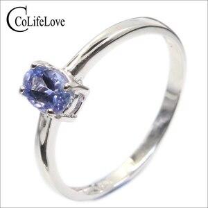 Image 1 - Hotsale silver tanzanite ring 4 mm * 6 mm real tanzanite ring for engagement solid 925 silver tanzanite ring romantic gift