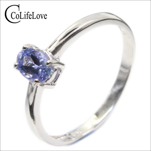 Hotsale silver tanzanite ring 4 mm * 6 mm real tanzanite ring for engagement sol