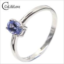 Hotsale zilveren tanzanite ring 4 mm * 6 mm echte tanzanite ring voor engagement solid 925 zilveren tanzanite ring romantische giftRingen