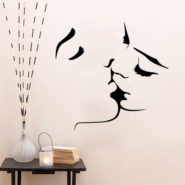 New kissing couple lovers wall Art sticker for wedding bedroom home ...