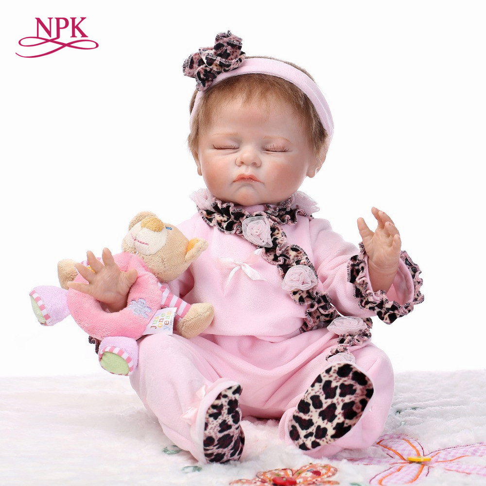 NPK Silicone Reborn Babies Doll Toys 50cm Cute Newborn Girl Sleeping Doll Reborn Kids Birthday Gift