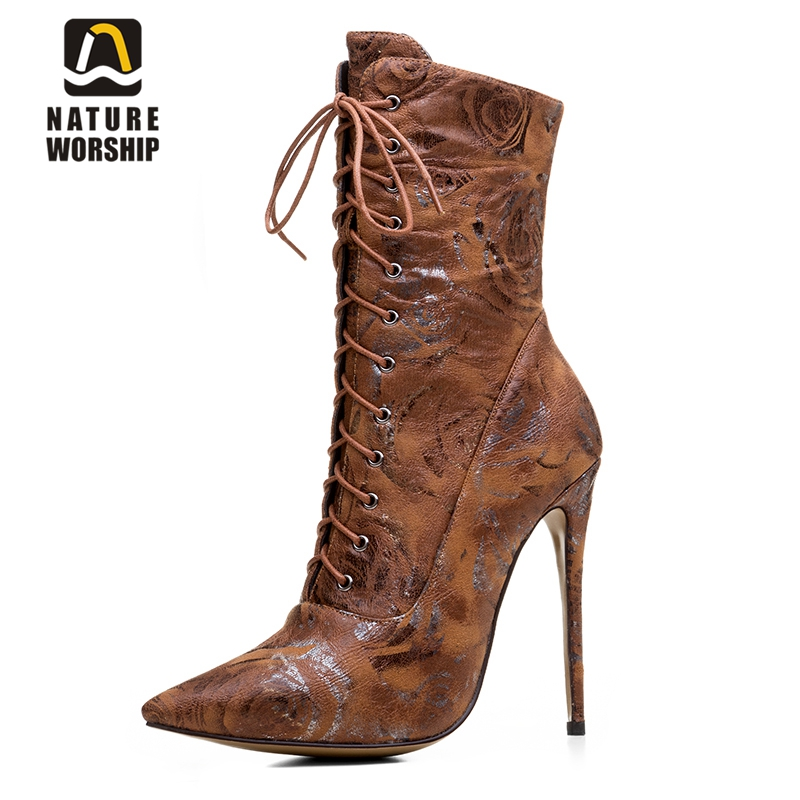 Women boots high heels ankle boot pointed toe cross-tied martin boots lace up rome style printing leather winter boots for women sexy women boots solid flock suede zip high heels boots lady stiletto pointed toe ankle boots martin boot red white black