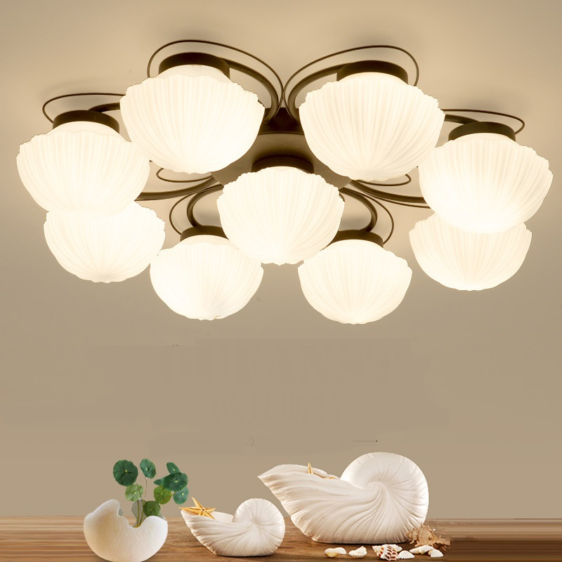 American simple glass ceiling lights creative living room bedroom senior hotel lobby lighting 3/4/6/9 heads ceiling lamps ZA oversized living room 36 inch shell lamps rich natural mediterranean flower garden hotel lobby lights pendant lights wwy 0363