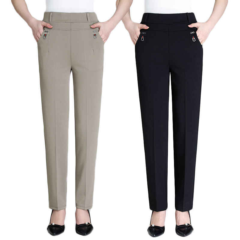 Casual Pants Women 2019 New Summer Autumn High Waist Elasticity Straight Pants Slim Trousers Female Khaki Black Plus Size XL-5XL
