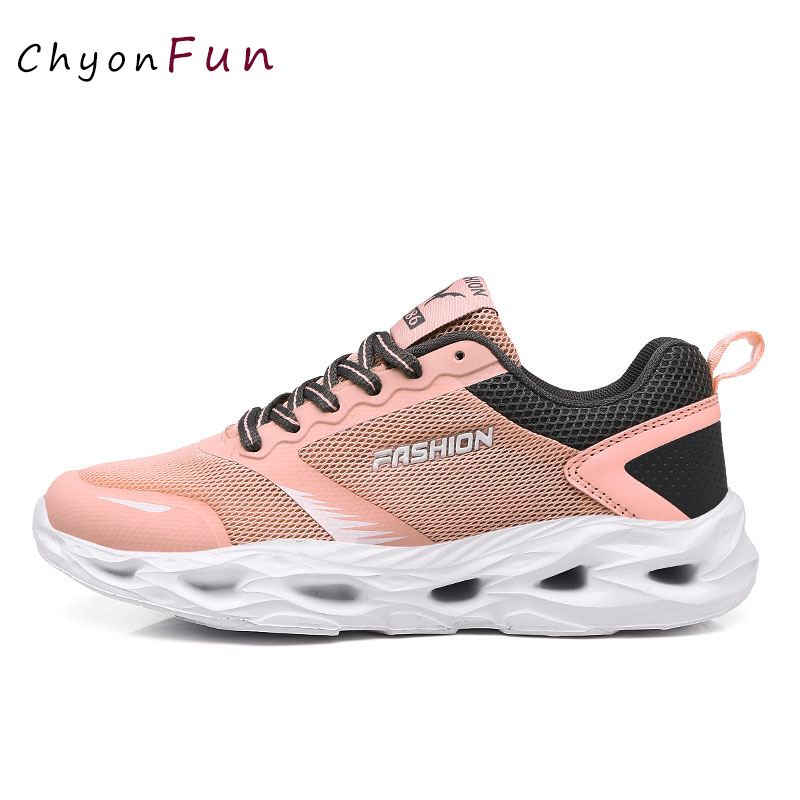Women's Summer Sneakers Pink Black Grey Mesh Upper Ultra Breathable Women's Sneakers Brand 2019