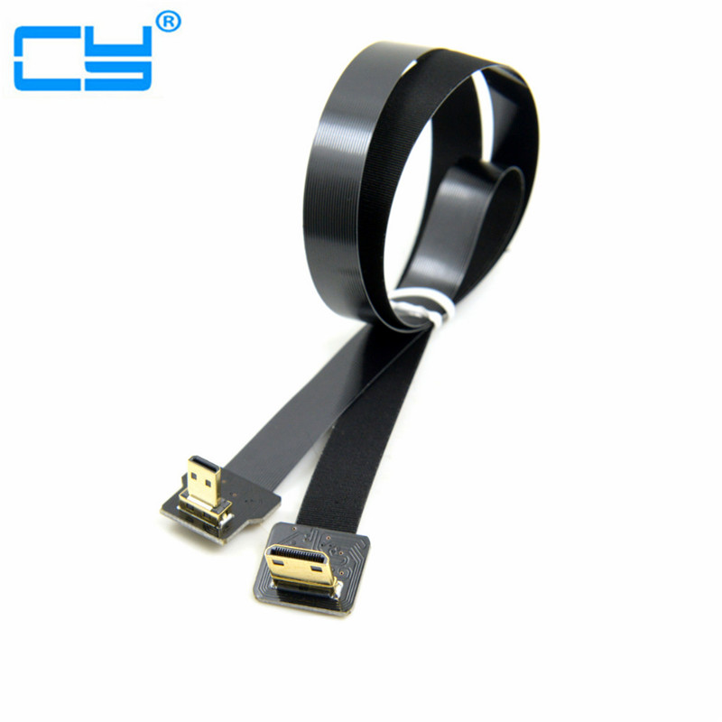 где купить 0.1M-1M 90 Degree Up Angled FPV Micro HDMI Male to Mini HDMI FPC Flat Cable for GOPRO Multicopter Aerial Photography 0.2M 0.5M дешево