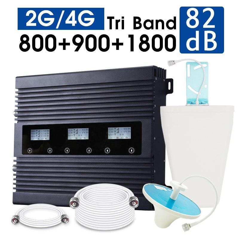Répéteur de Signal cellulaire Triple bande ATNJ Smart 2G 3G 4G 80dB Gain LTE 800 GSM 900 DCS 1800 amplificateur de Signal B1 B20