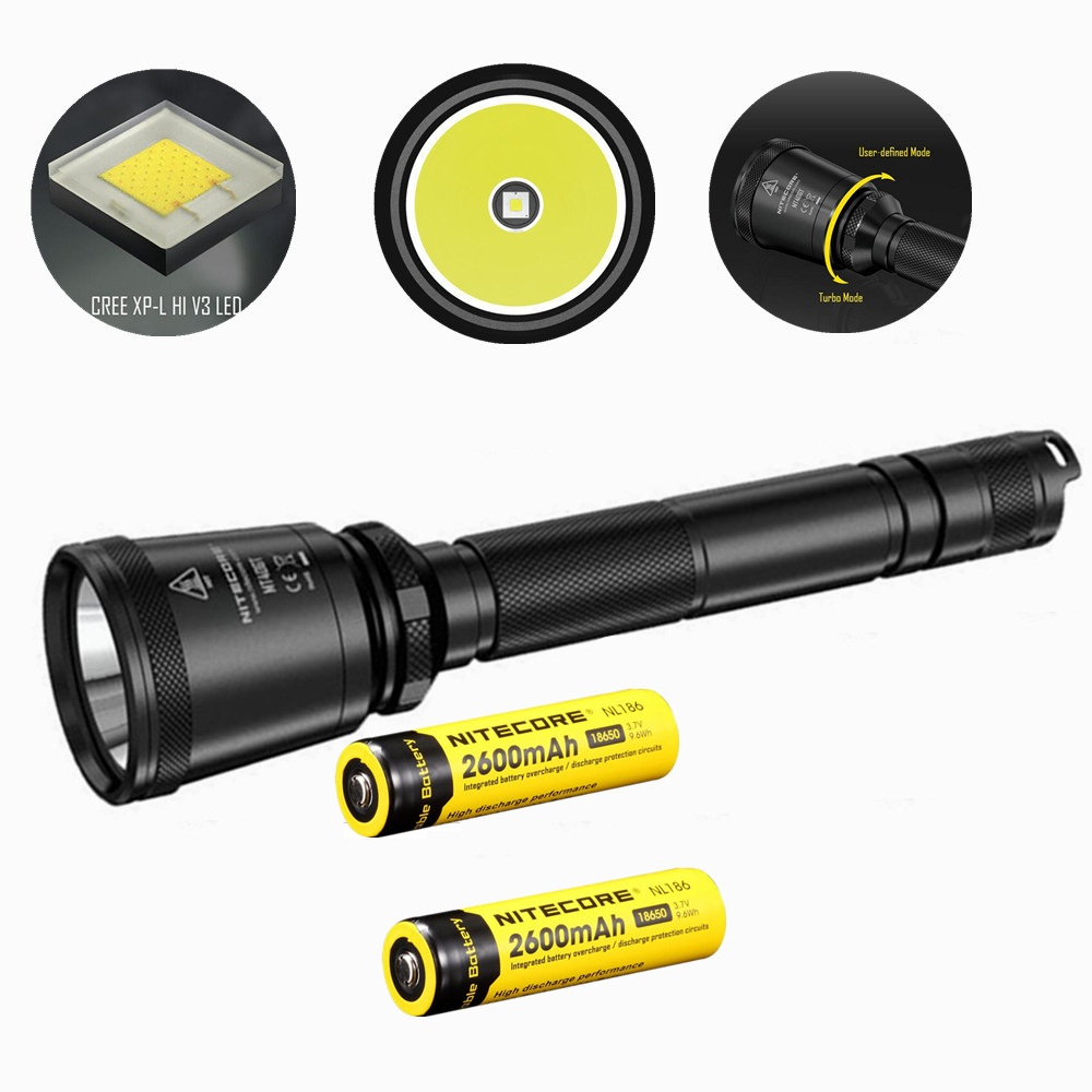 NITECORE MT40GT XP-L HI V3 Led Flashlight with 2 pcs nitecore NL186 2600mah 18650 battery 1000 Lumens 618 m Beam Distence Search nitecore p12gt cree xp l hi v3 1000lm led flashlight 320 meter torch new i2 charger 18650 3400mah battery for search