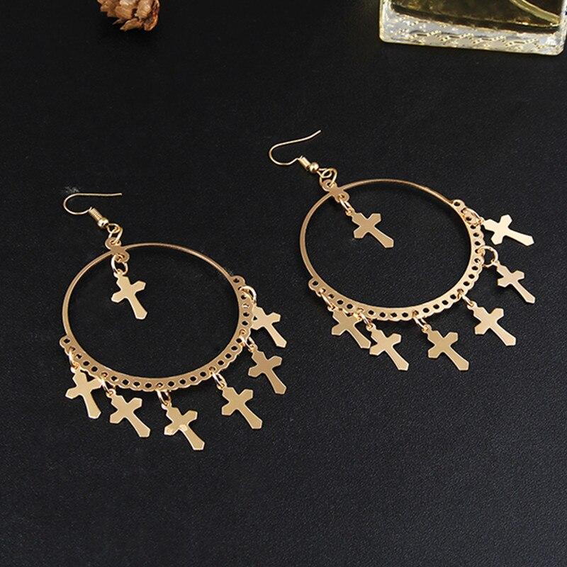 New Fashion Multiple Cross Dangle Earrings Jewelry Vintage Gold Color Cross Chandelier Earrings For Women Best Gift E040