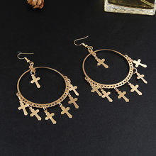 New Fashion Multiple Cross Dangle Earrings Jewelry Vintage Gold Color Cross Chandelier  Earrings for Women Best Gift E040 0f35fb1227ab