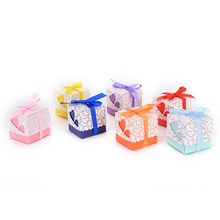 Top Quality 15pcs/lot Heart Wedding Favor Candy Box with Ribbon wedding souvenirs decoration marriage supplies(China)