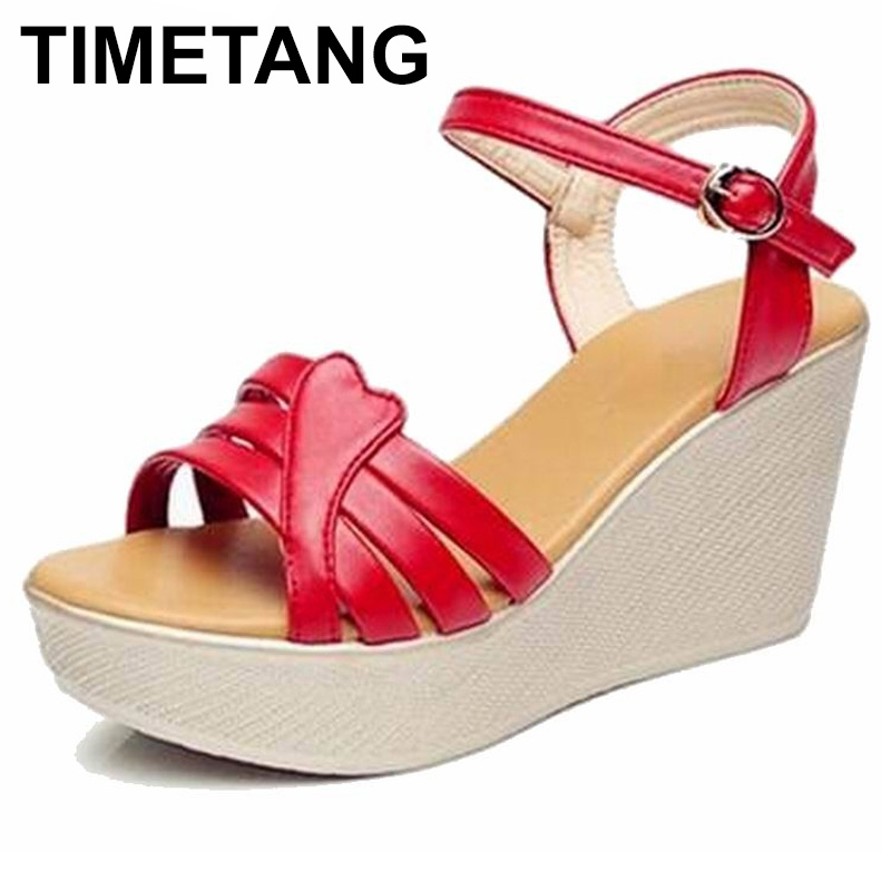 TIMETANG Plus Size 34-41 Summer Style Women Wedge Sandals Fashion Open Toe Platform High Heels Women Sandals Ladies Casual Shoes timetang summer women shoes woman fashion genuine leather open toe sandals ladies casual platform wedges plus size sandals c213