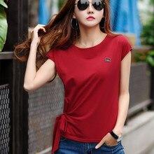 Clothing womens fashion 2019 summer white cotton T-shirt bow Korean shirt  -A52