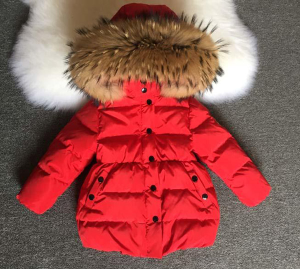 Children winter clothes coats girl white duck down down jacket natural fur collar cap removable