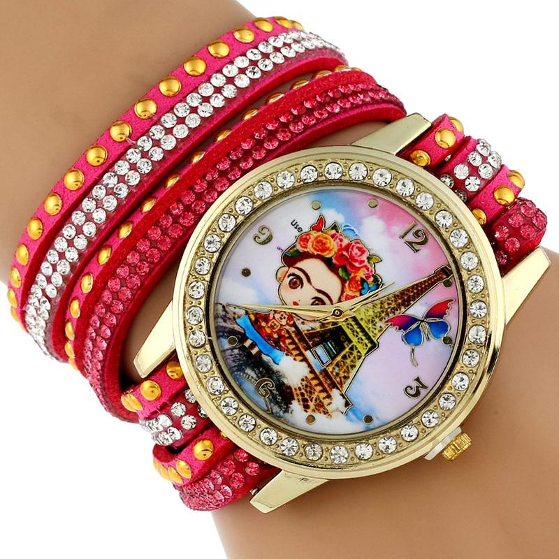 b5ff655d905 Gnova Platina TOP Grande Strap BIG Dial Rhinestone Rim Frida Paris Moda mulher  relógio de pulso relógio pulseira Estudante cores