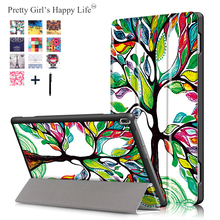 Case Voor Lenovo Tab 4 10 Tb X304L TB X304F/N Print Leather Stand Cover Tablet Fundas + Stylus