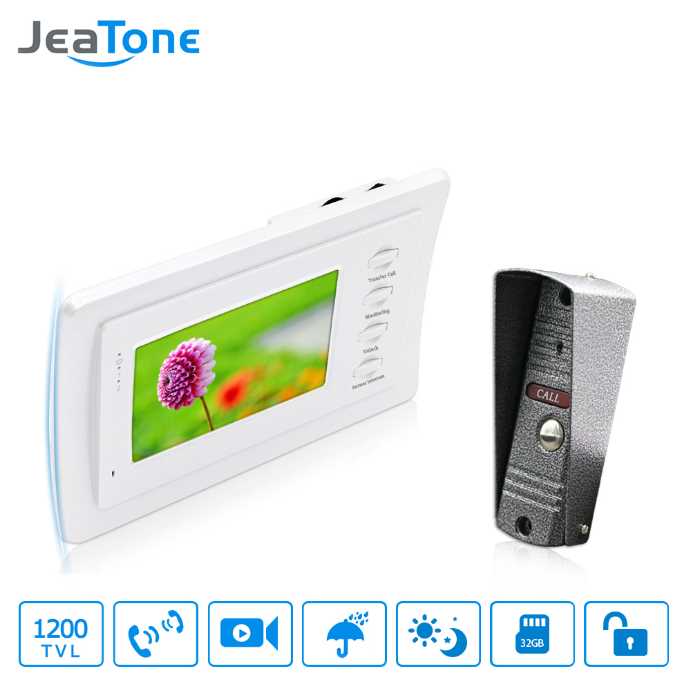 JeaTone 4 Inch Home Video Doorbell Monitor Video Intercom Door Phone Intercom IR Night Vision Camera Doorbell Kit With Storage
