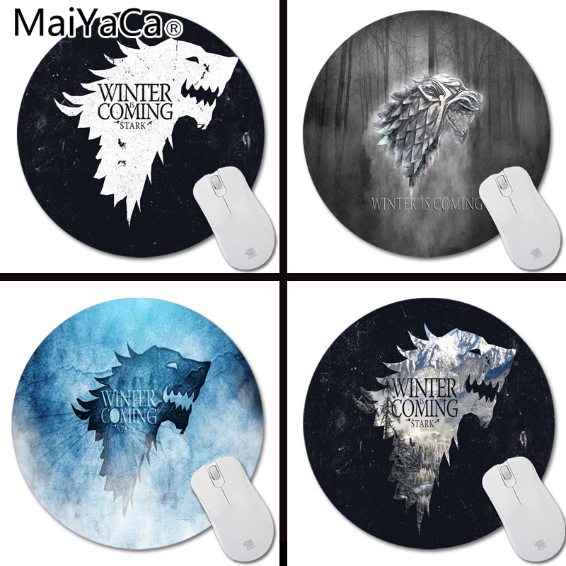 MaiYaCa Custom Tones Stark Winter is Coming wallpaper Art Print Mouse Pad Anti-Slip Round Mousepad Me Mats Mouse Mat for Optal