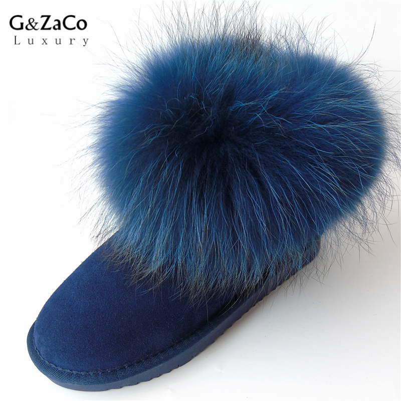 G&Zaco Luxury Brand Blue Natural Fox Fur Snow Boots Cow Suede Leather Winter Women Snow Boots Flat Female Real Fur Ankle Boots suede ankle snow boots