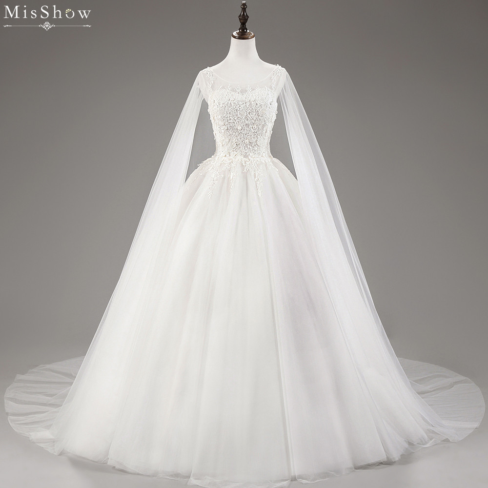 New White Ivory Wedding Dresses Ball Gown Applique Bridal: MisShow 2018 Retro White Ivory Wedding Dress Ball Gown