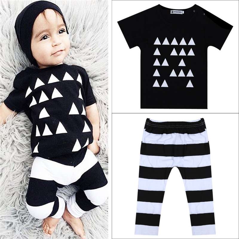 Baby Unisex Cotton Short-sleeve Tri-angle Pattern T-shirt +Pants Outfits Newborn Baby Boys Girl Clothing Set