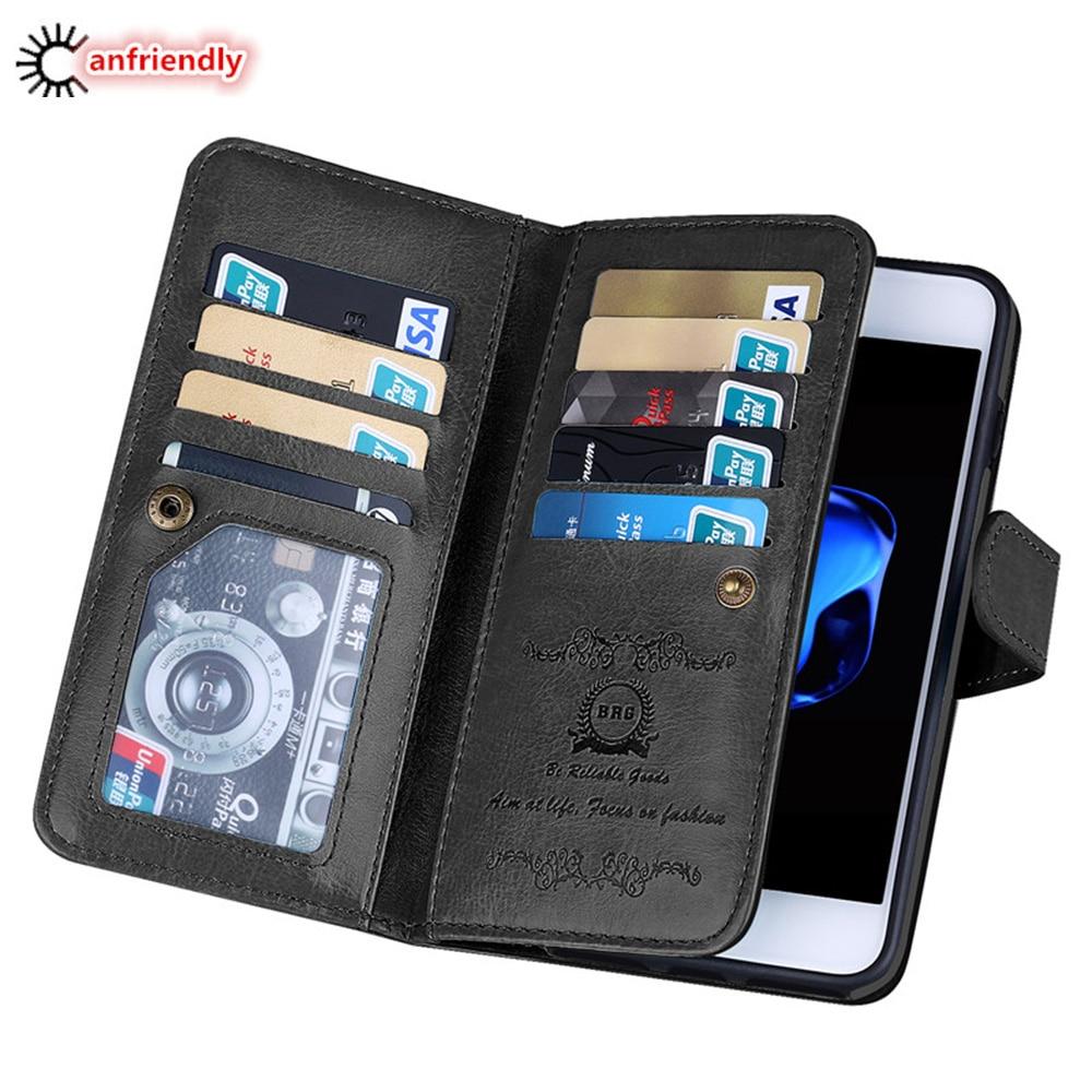 Iphone 7 8 Plus 7plus Case Lüks Cüzdan Cüzdan Dəri Çanta - Cib telefonu aksesuarları və hissələri - Fotoqrafiya 1