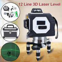 3D 12 Line Green Beam Laser Level Self Leveling 360 Degree Rotary Vertical Horizontal Cross with Rechargeable Battery Outdoor