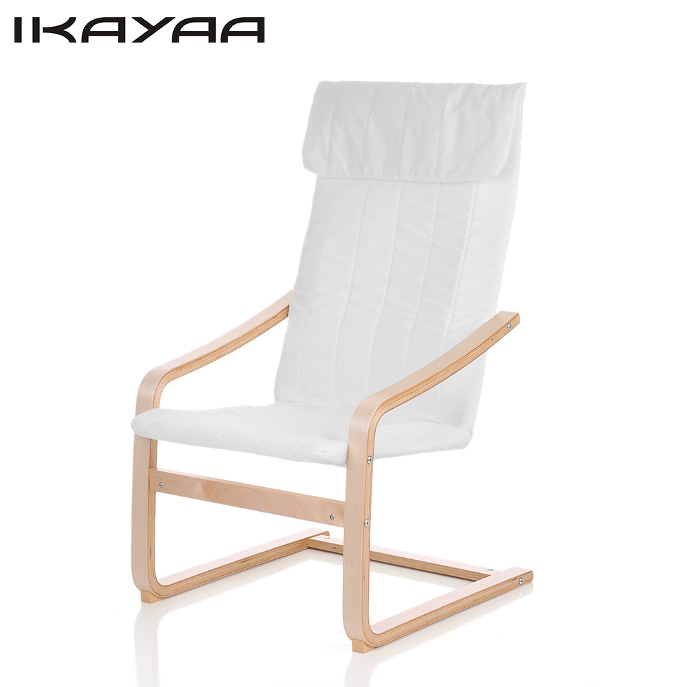 IKayaa US Stock Contemporary Wooden Reclining Bentwood Chair Solid Birch  Wood Lounge Chair With Cushion Comfortable