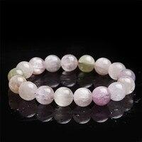 13mm Natural Genuine Kunzite Gems Stone Crystal Bracelets For Women Charm Stretch Clear Round Bead Bracelet Just One