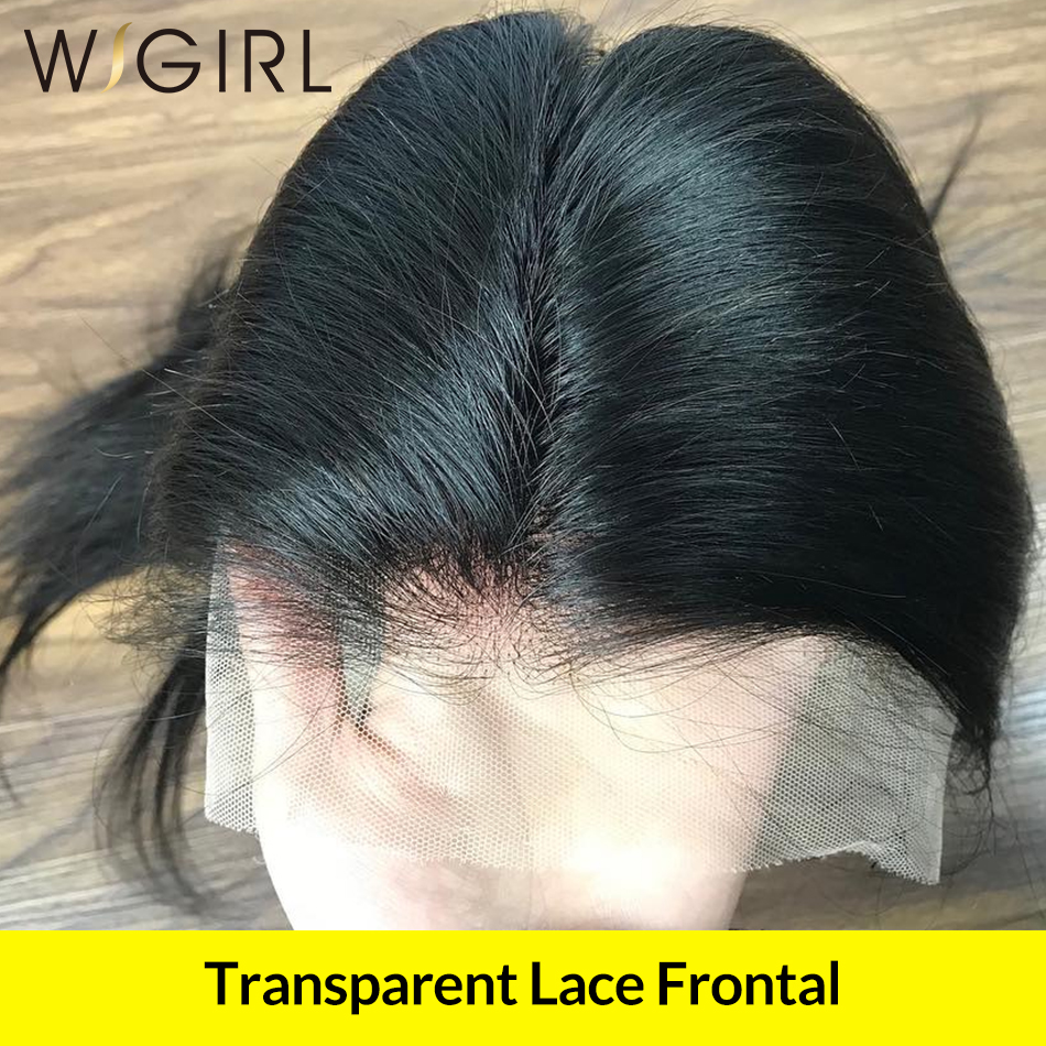 Wigirl Transparent Swiss Lace Frontal Closure Straight Hair Bleached Knots Pre Plucked With Baby Hair 100