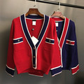 2016 primavera diseñador de la marca cc mujeres navy stripe color block V-cuello de la chaqueta delgada prendas de vestir exteriores de lana de punto chaqueta de punto de pista de alta final