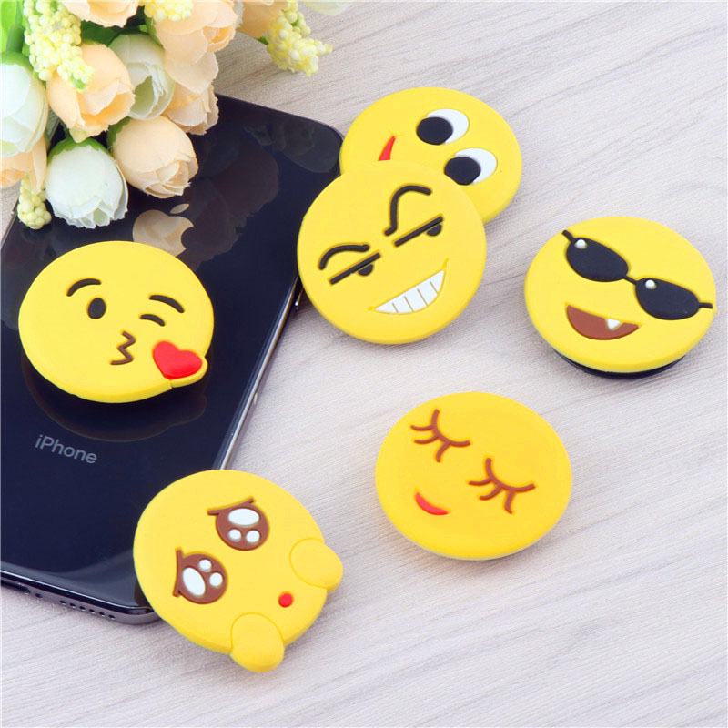 3D Cute Cartoon  Mobile Phone Holder Round Smiley Expression Stand Finger Ring Bracket Mount For IPhone X XS XR 8 7 6s Samsung