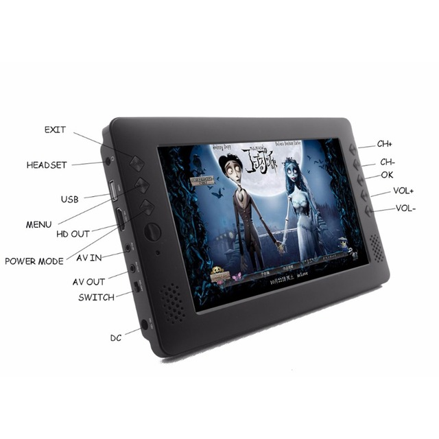 Best Price cheap DVB T2 in one TV ! 9 inch rechargeable battery H.264 USB HD out  multi-language OEM  mini digital portable tv!