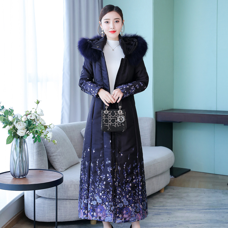 Women coat jacket winter clothes   parka   long thick warm hooded plus size large elegant print Jacquard navy blue outerwear coats