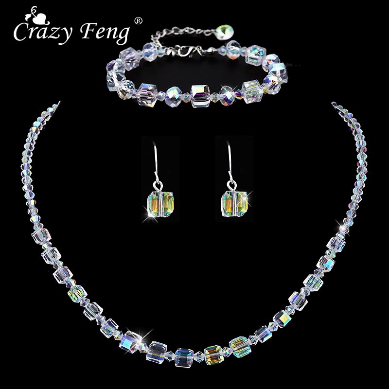 Crazy Feng 2019 Fashion Crystal Choker Necklace Dangle Earrings Wedding Jewelry Sets For Women Trendy Party Accessories BR+EA+NE
