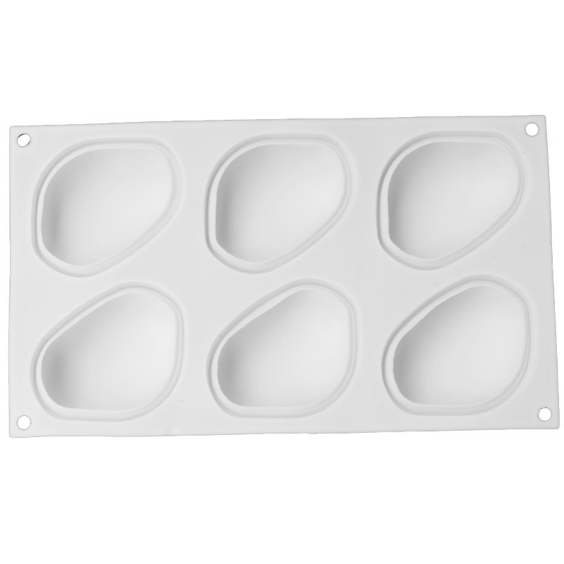 Купить с кэшбэком White Pebbles Silicone Cake Mold For Chocolate Dessert Mould  6 Cavity Elliptical Stone Mousse Molds 3D Jelly Pastry Baking Tool