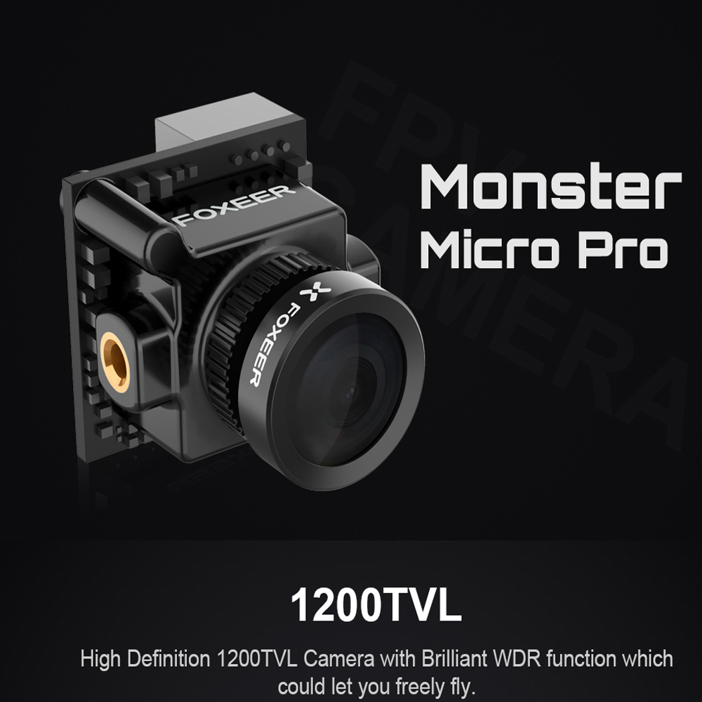 Foxeer Monster Micro Pro 1,8mm 16:9 1200TVL PAL/NTSC conmutable WDR baja latencia FPV Cámara OSD incorporado DC 5-40 V soporte Cámara