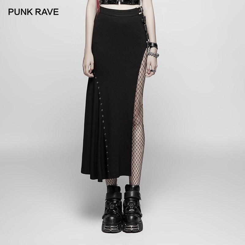 PUNK RAVE Women's Punk Rock Sexy Long Split Black Sexy Slim Half Skirts Cosplay Stage Personality Hip Hop Streetwear Skirt Girls