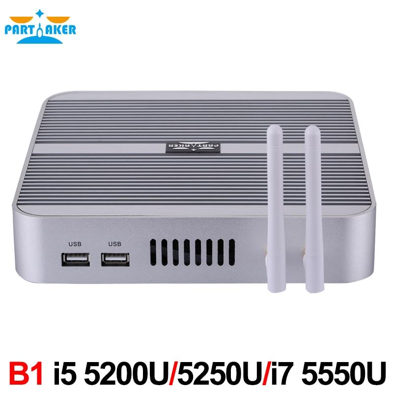 5 Gen Broadwell CPU Mini PC Computer Core i5 5200u i5 5250u HD 5500 HD 4K Fanless Mini ITX PC Rugged Case Windows HTPC