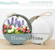 European Creative Wrought Iron Round Wall Hanging Simple Living Room Decorative Storage Flower Basket Home Decoration