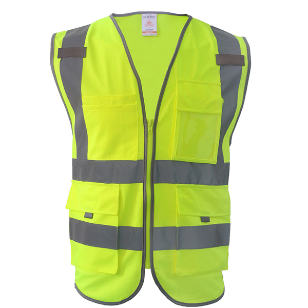 SFvest Safety Reflective vest men safety workwear work vest tool pockets yellow blue waistcoat free shipping  1